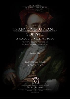 Product picture Francesco Barsanti - Sonate a flauto o violino solo e basso