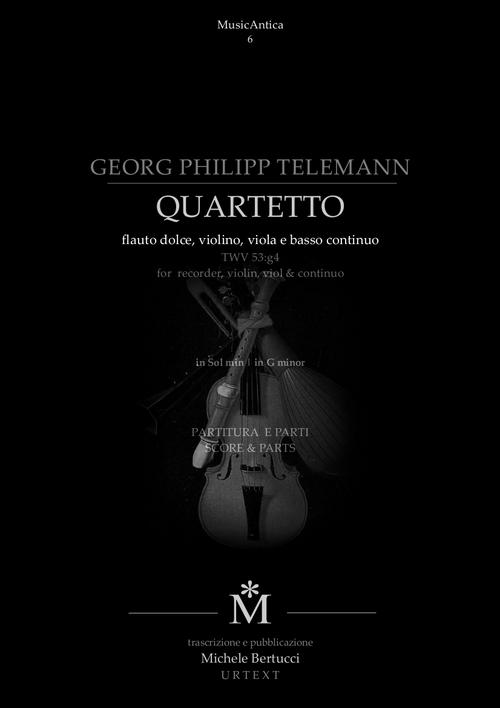 Product picture Telemann Quartetto TWV 53:g4 flauto dolce, violino, viola bc